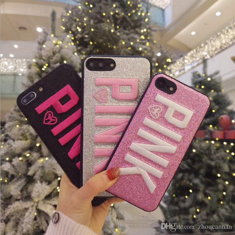 Cute 3D Ricamo ROSA Glitter Bling Custodia morbida per iPhone 6 7 8Plus X XS XS Max Samsung S8 S9 Note8 9 Silicone