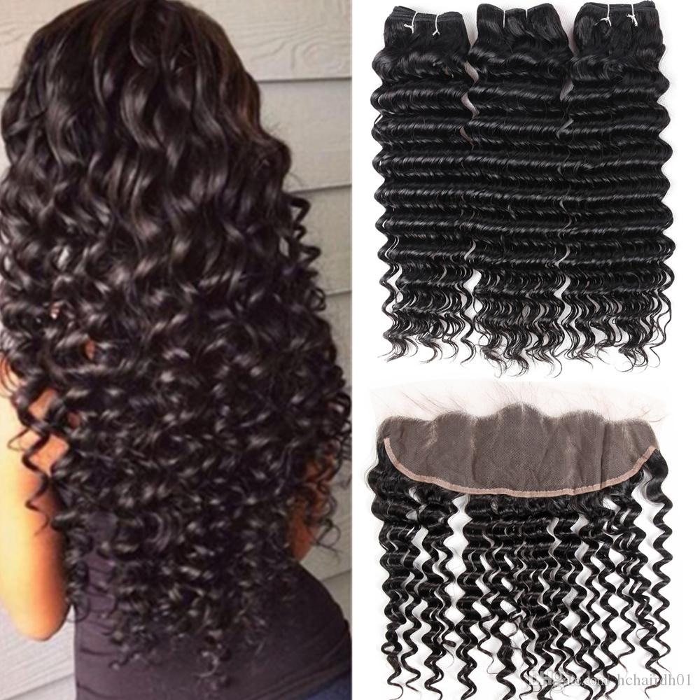 8A Brazilian Deep Wave Bundles With Closure 100% Human Hair Lace Frontal Closure With Bundles Deal Kinky Curly Water Wave Body Straight