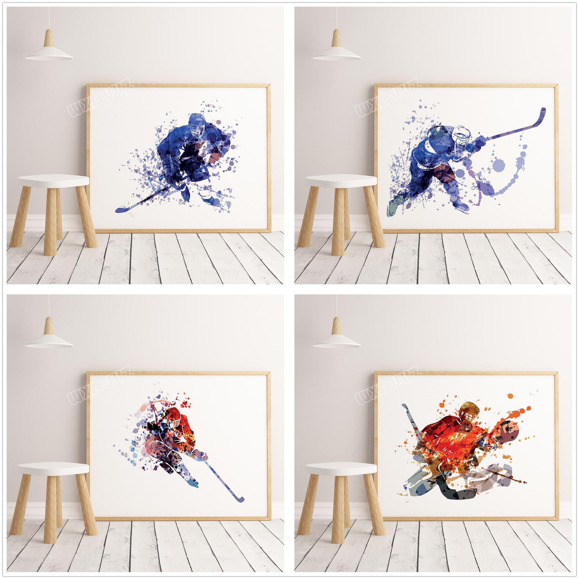 Хоккей на льду акварель настенное искусство плакат Арт Декор домашний декор детская детская комната живопись настенное искусство холст Живопись A263