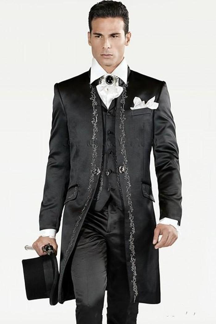 Nouveau 3 pièces Broder Noir Groomsmen smokings marié hommes Costumes de mariage / Prom / Dîner Best Man Blazer (veste + pantalon + cravate + vest) 266