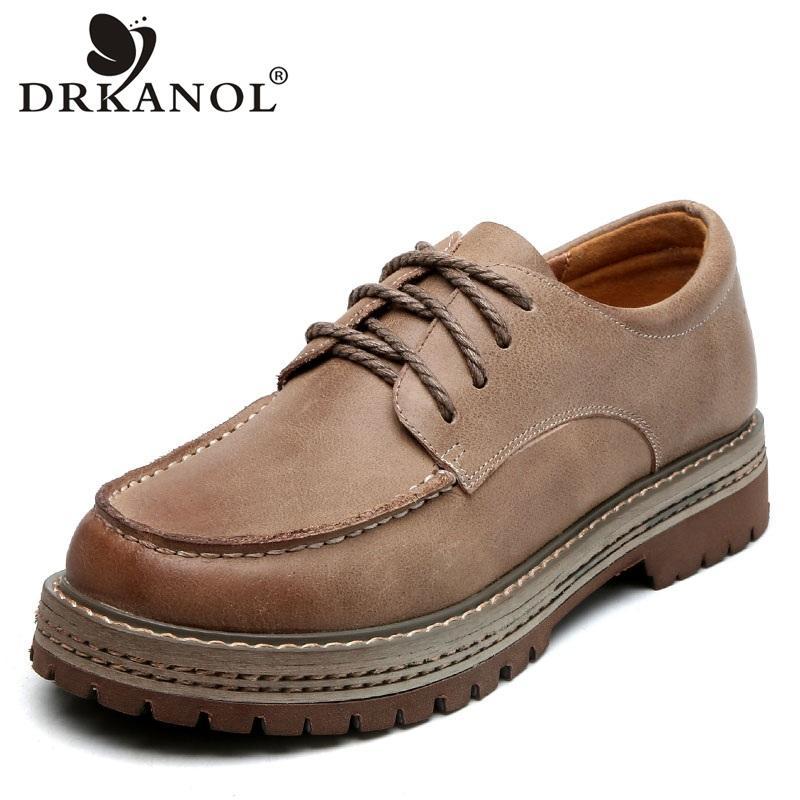 DRKANOL style britannique main femmes véritables chaussures Oxford en cuir chaussures pour femmes Flats Vintage lacent bout rond Chaussures Casual