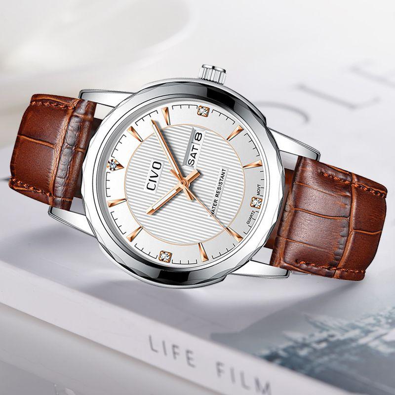 CIVO Reloj Hombre Herrenuhr echtes Leder Wasserdicht Kalender Analog-Uhr-Taktgeber-Quarz-Armbanduhr Herrenuhr