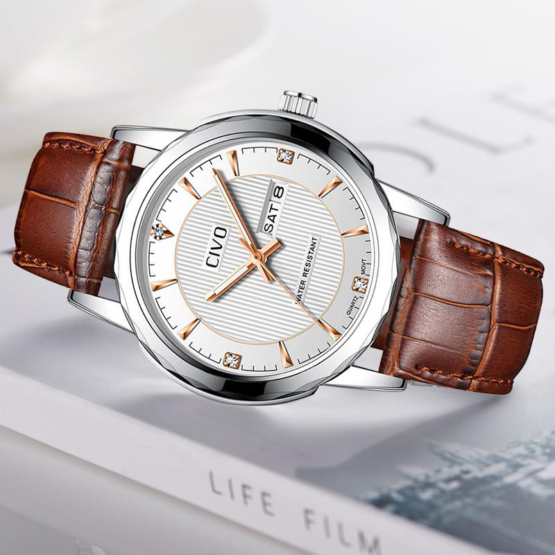 CIVO Reloj Hombre Mens Relógios de couro genuíno impermeável Calendário analógico relógio relógio de pulso de quartzo Relógios Herrenuhr