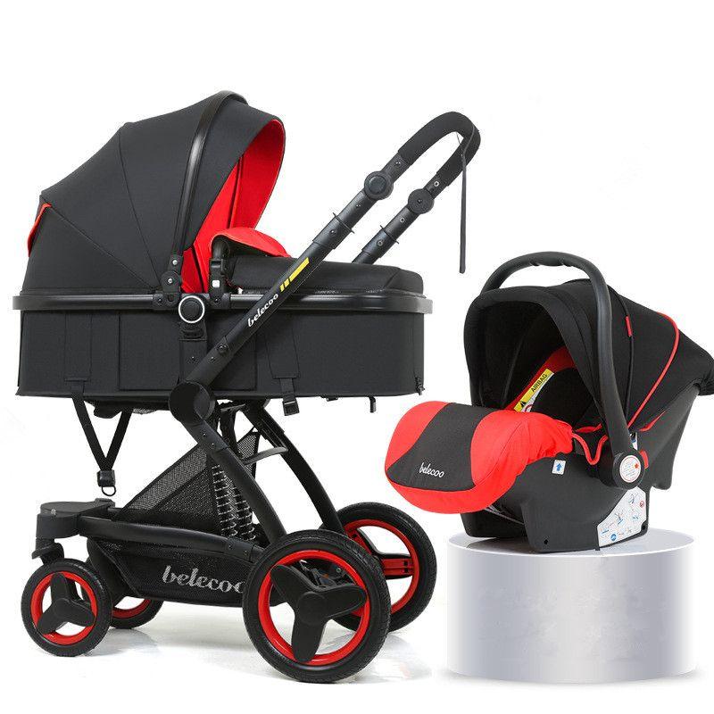 عالية المناظر الطبيعية عربة طفل 3 في 1 الساخن أمي عربة السفر عربة عكسية الطفل عربة الوردي مع مقعد السيارة
