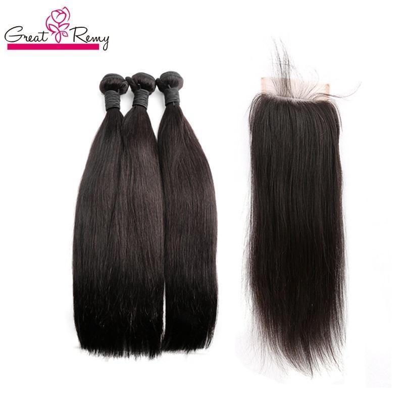 Greatremy malesi di 100% capelli umani del Virgin Bundle Con chiusura del merletto serico naturale di colore trame dei capelli con balza in pizzo Chiusura 4x4