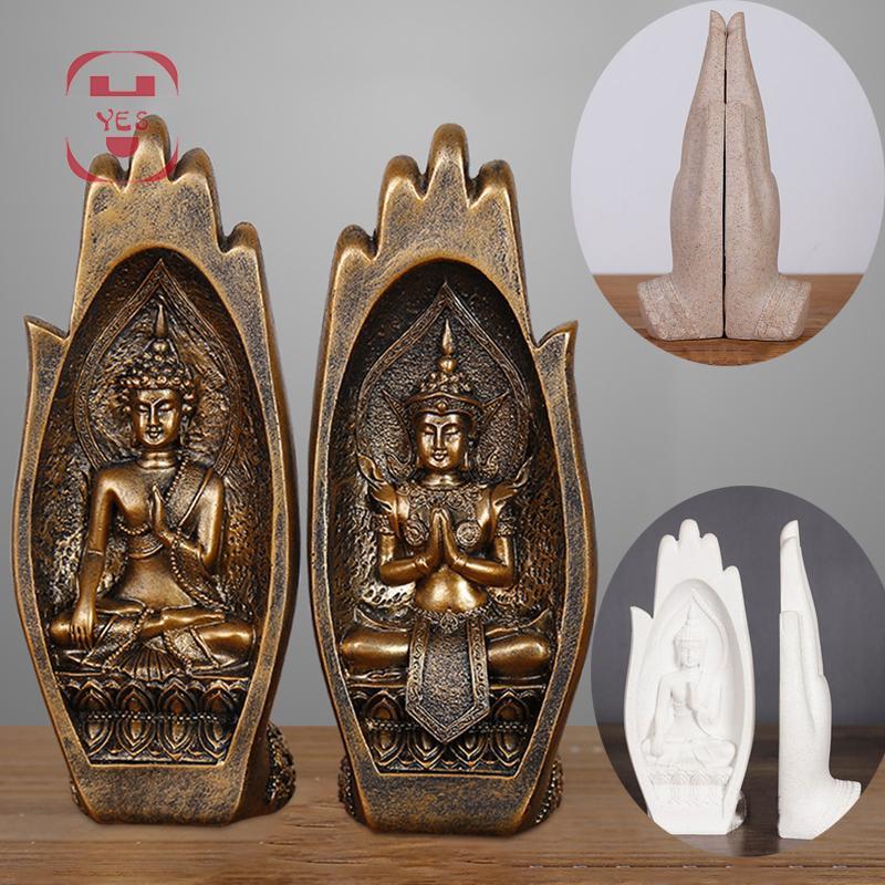 2 Pcs/set Resin Buddha Statue Monk Figurine Tathagata India Yoga Mandala Hands Sculptures Home Decoration Accessories Ornaments T200619