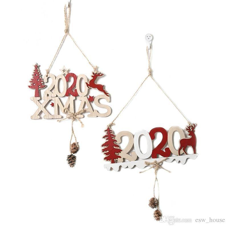 Hanging Natale a sospensione 2020 finestra di legno Xmas Tree Hanging lettere prodotto Moose con corda decorazione di Natale