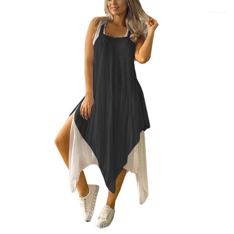 فساتين قطعتين الصلبة اللون فساتين ساحة الرقبة عارضة تنفس السيدات ماكسي الصيف السيدات الملابس الصيفية النسائية غير النظامية