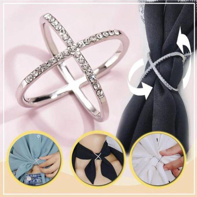Пряжка кольцо Сплав Кристалл Женщины высокого класса Крест Hollow шарфы Шарф способа кольцо держатель клипа Hot Daily Wear Свадьба Пром