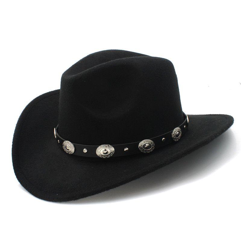 Lana Womem Hombres Sombrero de vaquero occidental con borde ancho Cinturón punk Vaquera Gorra de jazz Con Toca Gentleman Sombrero Sombrero 23