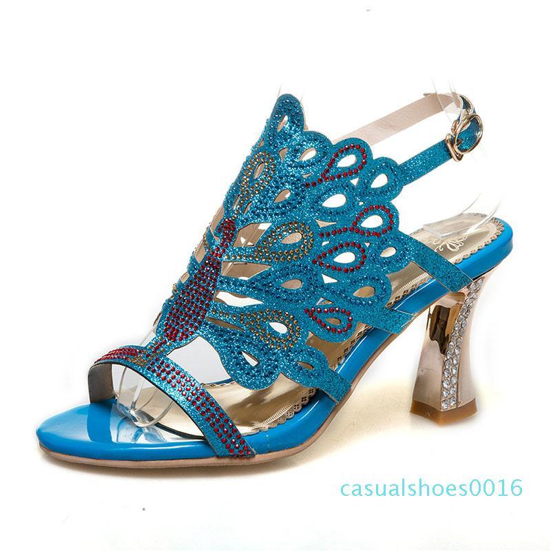 Kcenid плюс размер 46 летние сандалии женщины открытый носок горный хрусталь Кристалл копыта каблуки гладиаторские сандалии женщины блестящие вечерние туфли c16