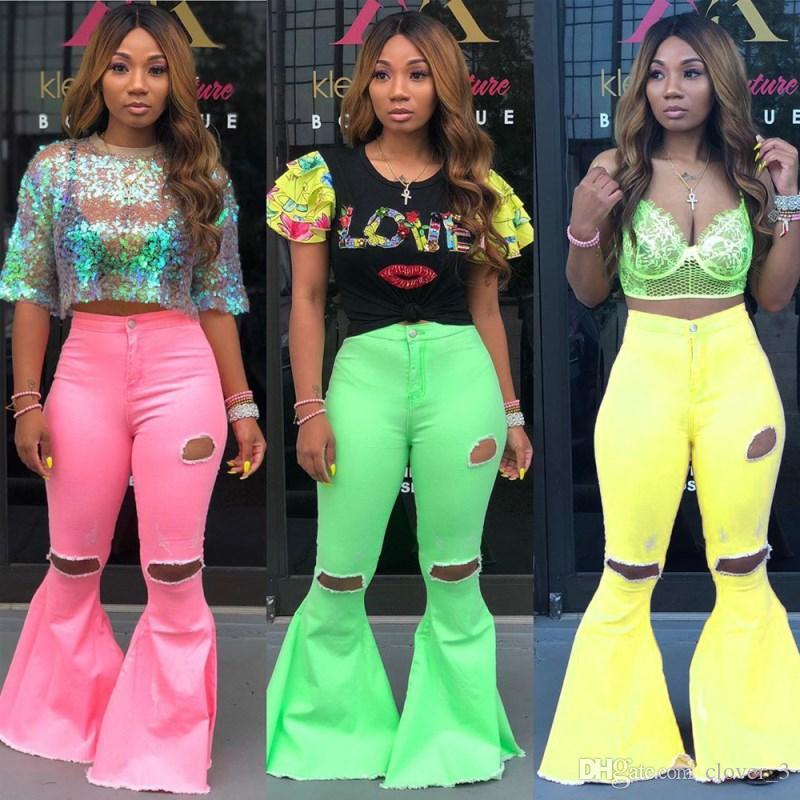 Jeans femmes trou pantalon évasé pantalon en denim bootcut pantalon slim Jeans jambe droite mode pantalon décontracté solide klw1803
