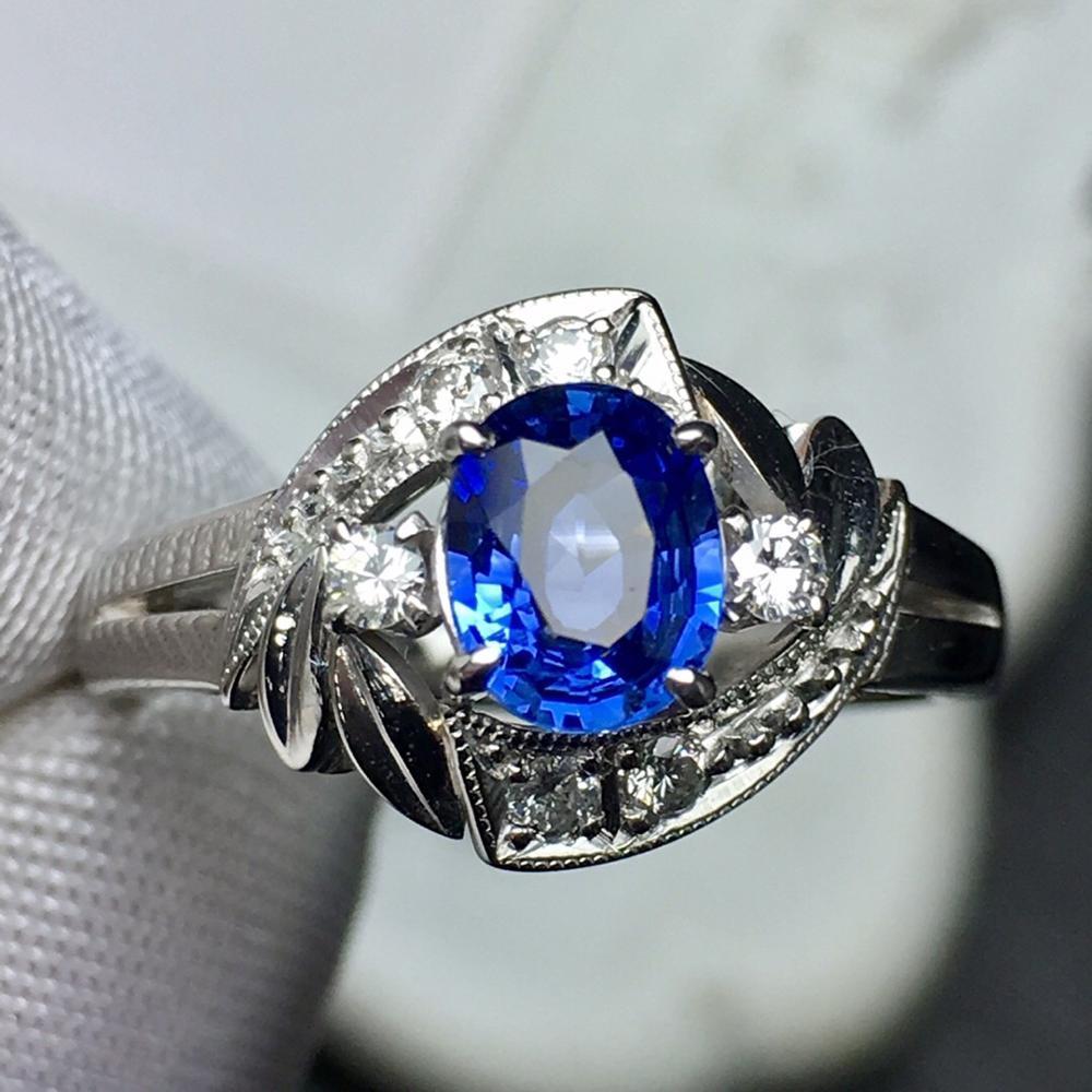 Изысканные ювелирные изделия Pt900 Real Платина Золото 100% натуральный голубой сапфир 0.733ct Бриллиантовые Sapphire Diamonds Женские Обручальные кольца