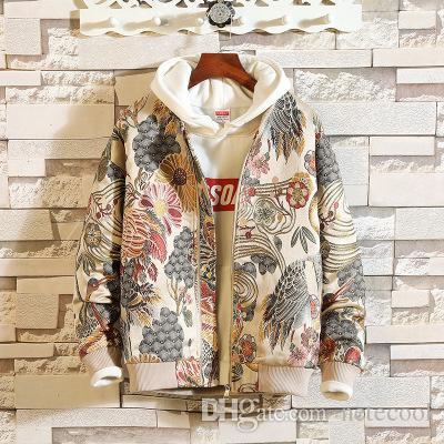2018 Mens Jackets Man 빈티지 플로랄 자수 기본면 코튼 남성 한국 스타일 가을 Streetwear 윈드 브레이커