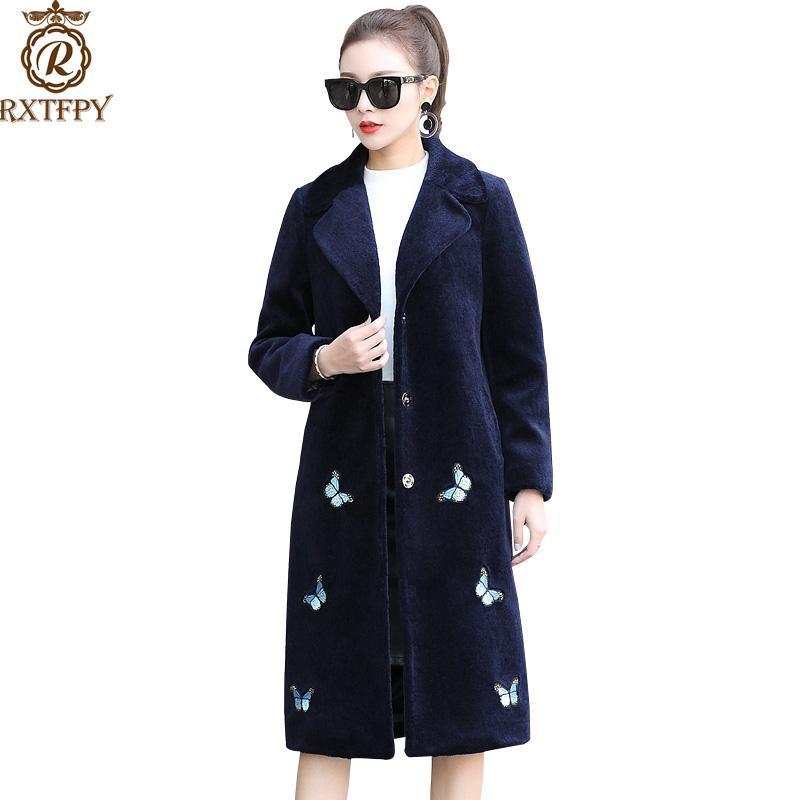 المرأة الفراء فو المرأة الأزياء فروي طويل الشتاء الطباعة الخامس الرقبة قميص زائد حجم الصوف يمزج متوسط طول معطف الإناث a74