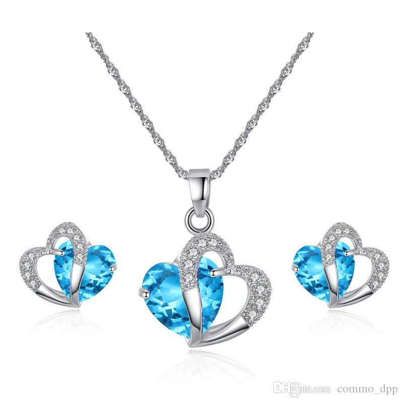 Austrian crystal Jewelry set Cubic zirconia CZ Double Heart shape Pendant Necklace Stud Earrings Sets For women Luxury Jewelry Gift