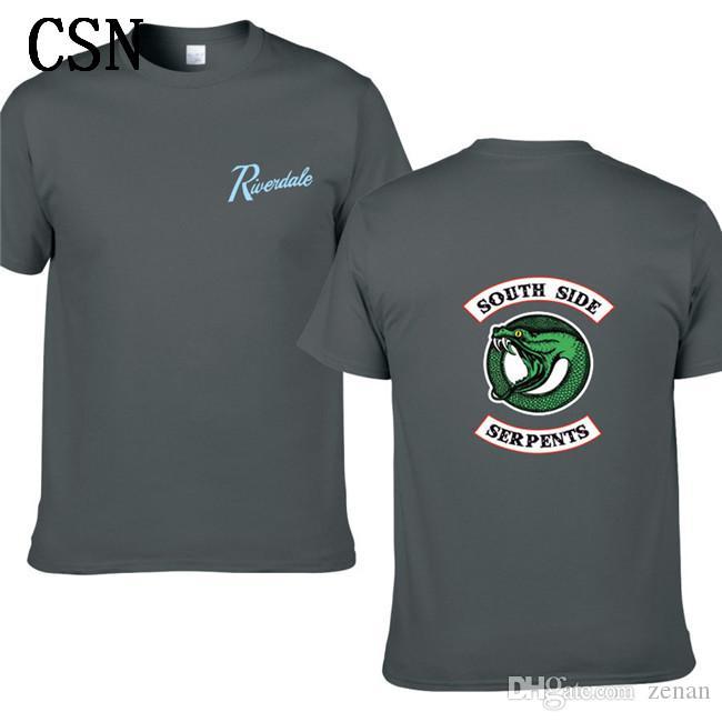 2020 Nova Riverdale Homens Mulheres Verão Green Snake Imprimir manga curta T-shirt da agitação Hip-Hop de algodão Imprimir T-shirt EL-5