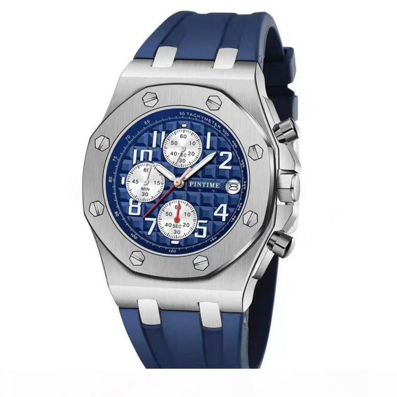 PINTIME бренд мода роскошные кварцевые мужские часы хронограф многофункциональный Королевский дизайнер наручные часы водонепроницаемый часы для мужчин