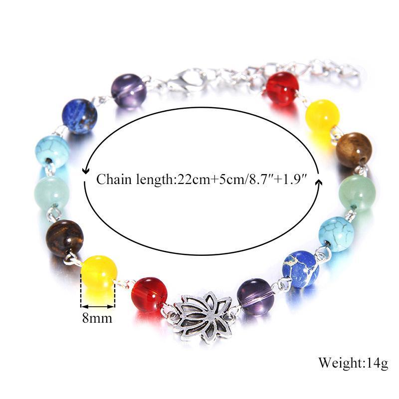 Nouveau 7 Chakra Yoga breloque mode élégant Lotus coloré de guérison du Reiki équilibre Perles Pierres naturelles Bracelet Femmes New Hot Bijoux