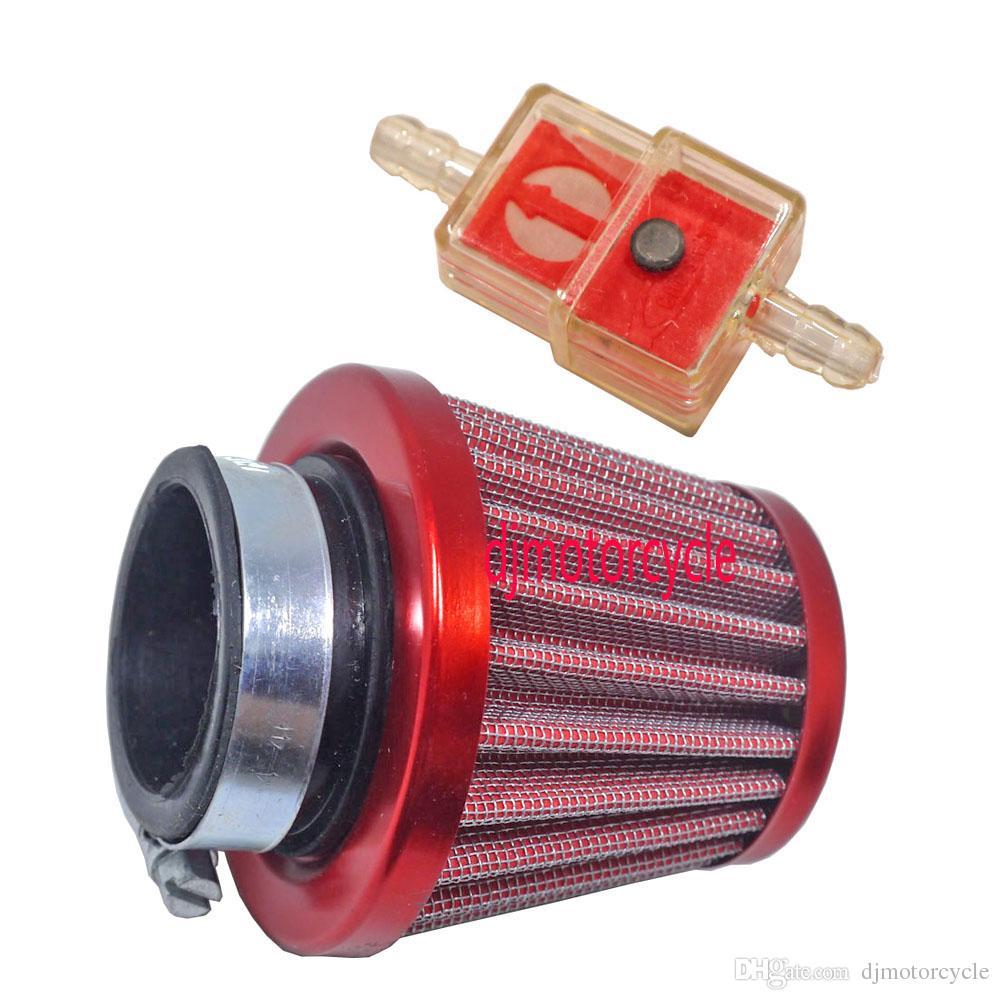 Rosso Filtro aria kit induzione aspirazione filtro aria 38mm per fuoristrada ATV Quad Dirt Pit Bike