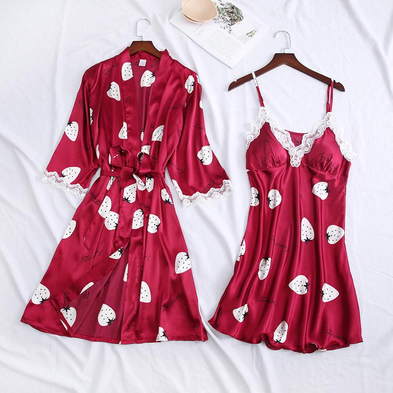 Женщины ночная рубашка пижамы принты невесты невесты Свадебный халат атласная ночная рубашка ночная рубашка Сексуальная домашняя одежда домашняя одежда XA150F