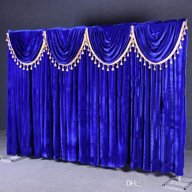 Basit stil Düğün Arka Plan özel Altın kadife düğün arka plan 3m * 4m sahne arka taraf arka lüks düğün sahnesi