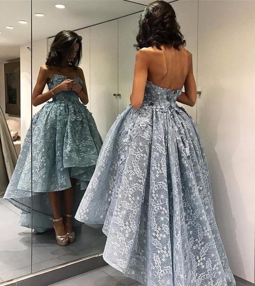 Nova High-Low Strapless Chic Ball-vestido sem mangas Modern Vestidos Vestidos de Noiva formal do partido Prom Vestidos