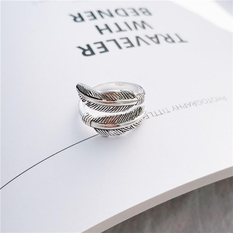 S1015 موضة ساخنة مجوهرات S925 خاتم الشظية الاسترليني القط خمر الريشة المفتوحة البنصر