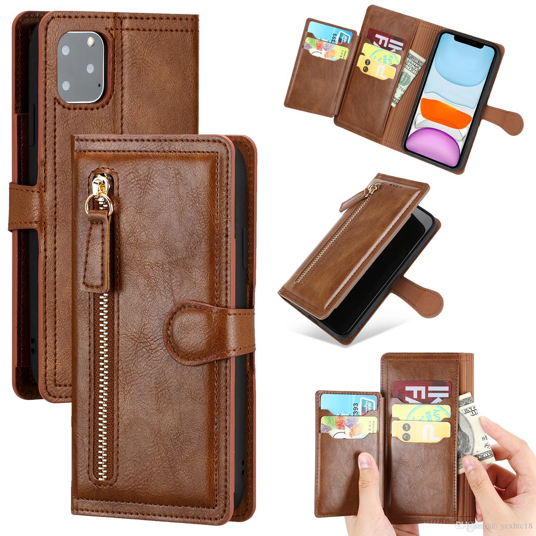 moda de luxo carteira caso couro telefone PU para iphone 11 caso pro Max com slot para cartão Zipper tampa shell proteção para iphone XS Max XR 8