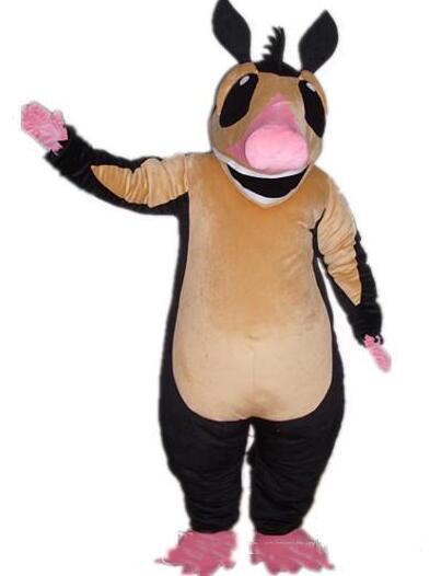 Atacado de alta qualidade quente uma fantasia de mascote rato preto com barriga marrom para adultos ao desgaste