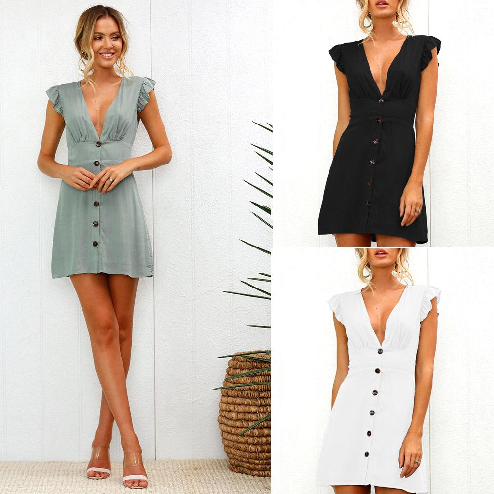 Fashion-New Arrival Women Summer Ruffle Dress Sleeve Waist Tightening Mini Dress Beach Party with Button