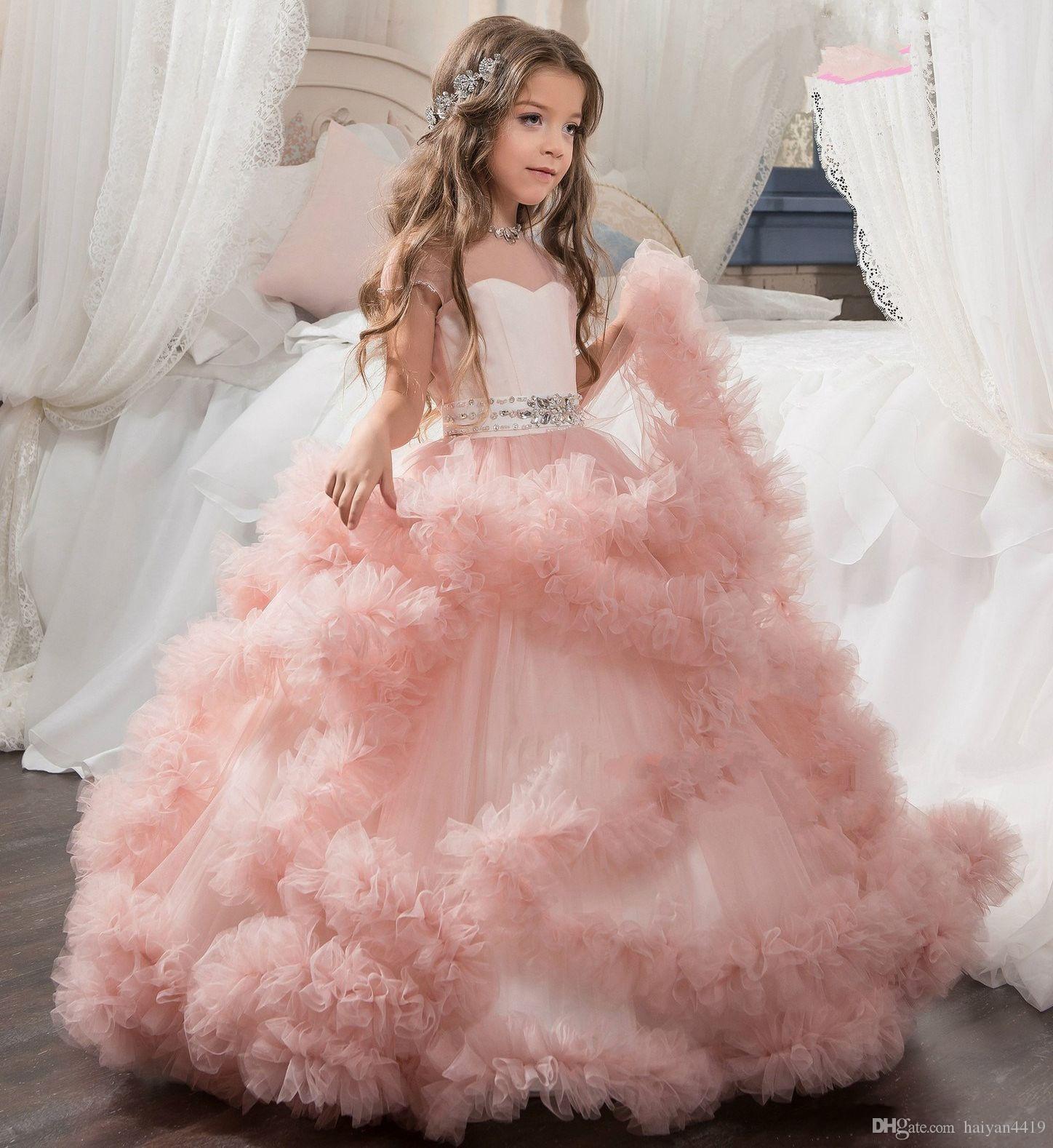 웨딩 블러쉬에 대 한 새로운 저렴 한 꽃 소녀 드레스 핑크 공 가운 모자 슬리브 Tulle 프릴 계층화 된 파란색 된 어린이 키즈 파티 성 찬 식 가운