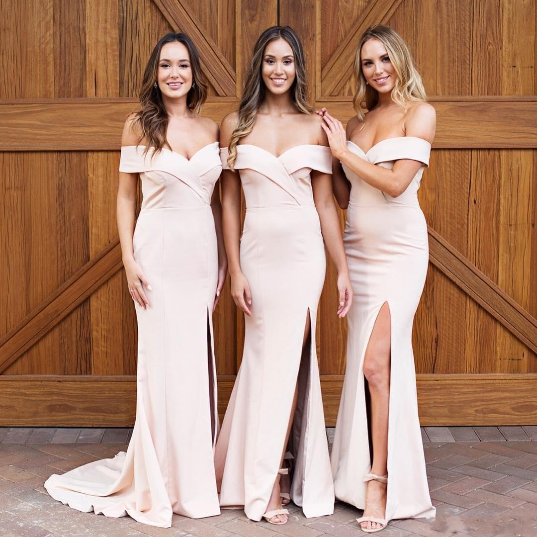 2020 Cheap Nude Mermaid Bridesmaid Dresses Off the Shoulder Floor Length Splits Evening Prom Dress Plus Size Wedding Guest Gowns BM0643