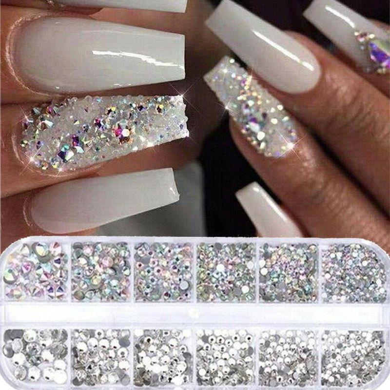 12 Griglie / set AB di cristallo del chiodo dei Rhinestones di arte della decorazione multi-formato 3D punte DIY del manicure di scintillio del diamante gemme Accessori