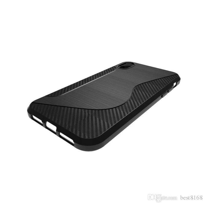 Para Iphone XR XS MAX Fundas NS Stlye S line Funda de TPU suave Para Samsung Galaxy Note 9 Fibra de carbono de silicona Cepillado Fundas para teléfono verticales