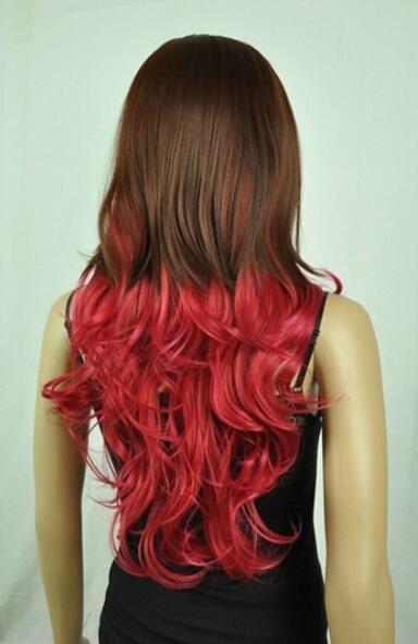 FREESHI PPING + ++ 2 colores Cosplay mixta peluca rizada
