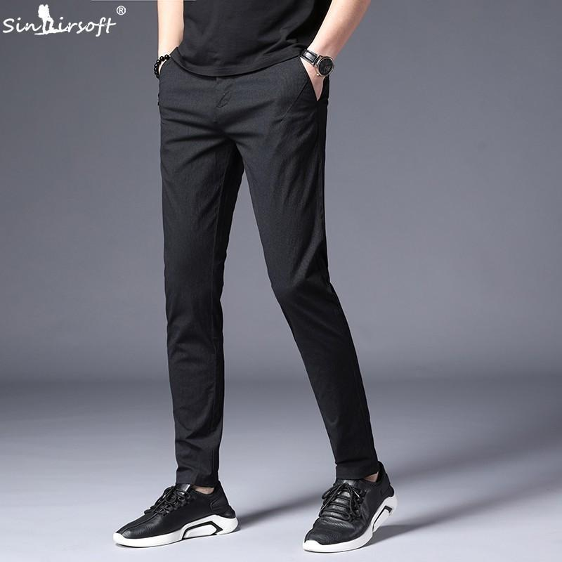SINAIRSOFT Spring Summer Mens Slim Casual Pants Cotton 2019 New Fashion Business Causal Trouser Men Stretch Black Suit Pants