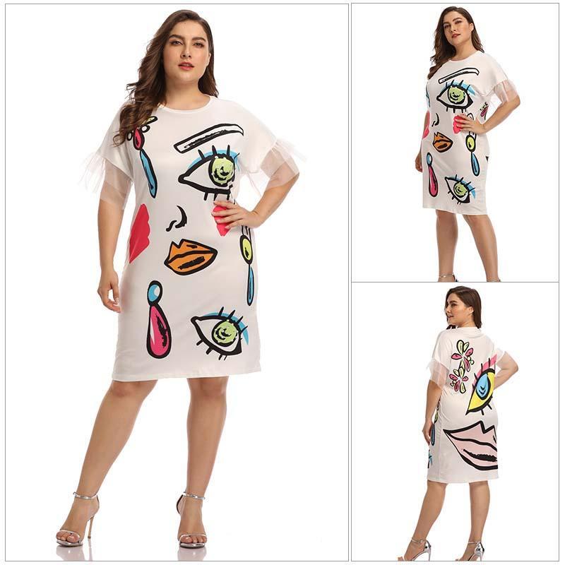 Manga al por mayor del vestido corto de encaje de cintura alta costura vestido ocasional Midi Moda Mujer Vestido 4XL
