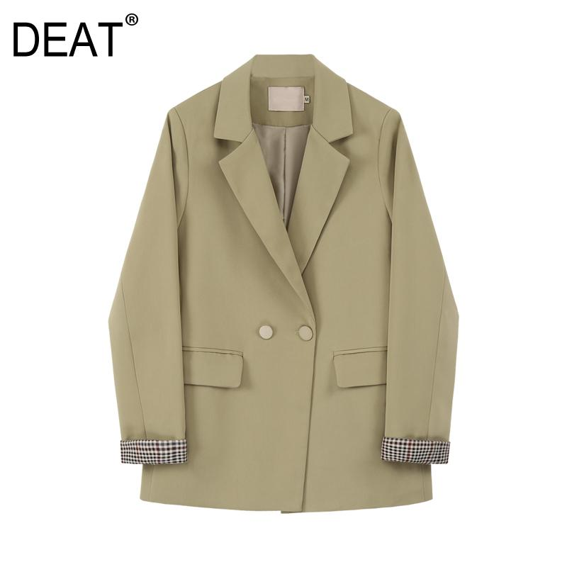 [DEAT] Women Double Breasted Temperament Blazer New Lapel Long Sleeve Loose Fit Jacket Fashion Tide Spring Autumn 2020 13P486