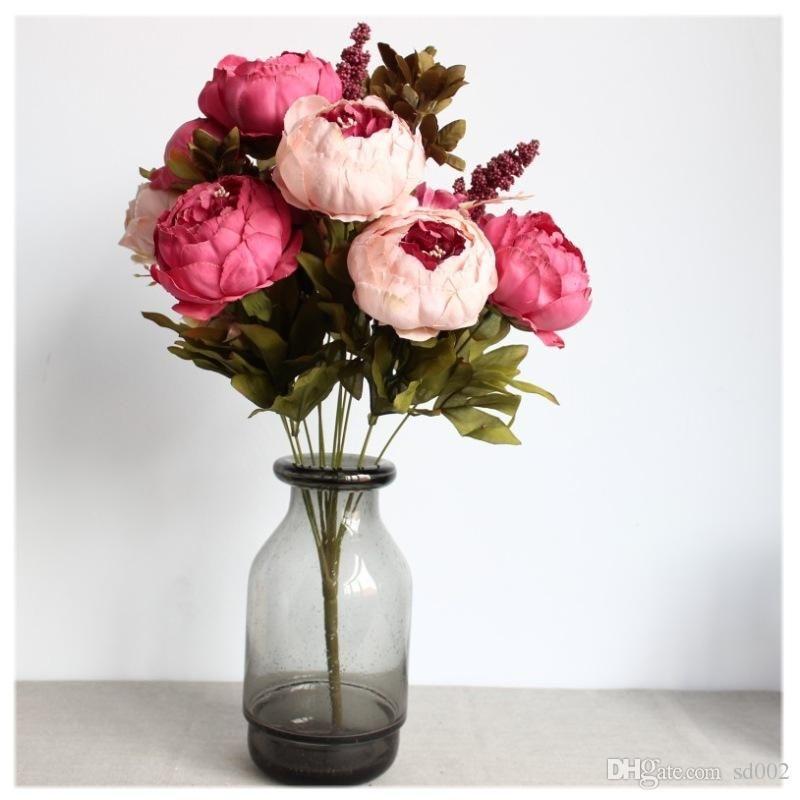 Retro Mazzo Nucleo tè dell'imballaggio Peony fiore artificiale High Grade simulazione Fake Flowers Decoration posto la scrivania di moda 16 5xlC1