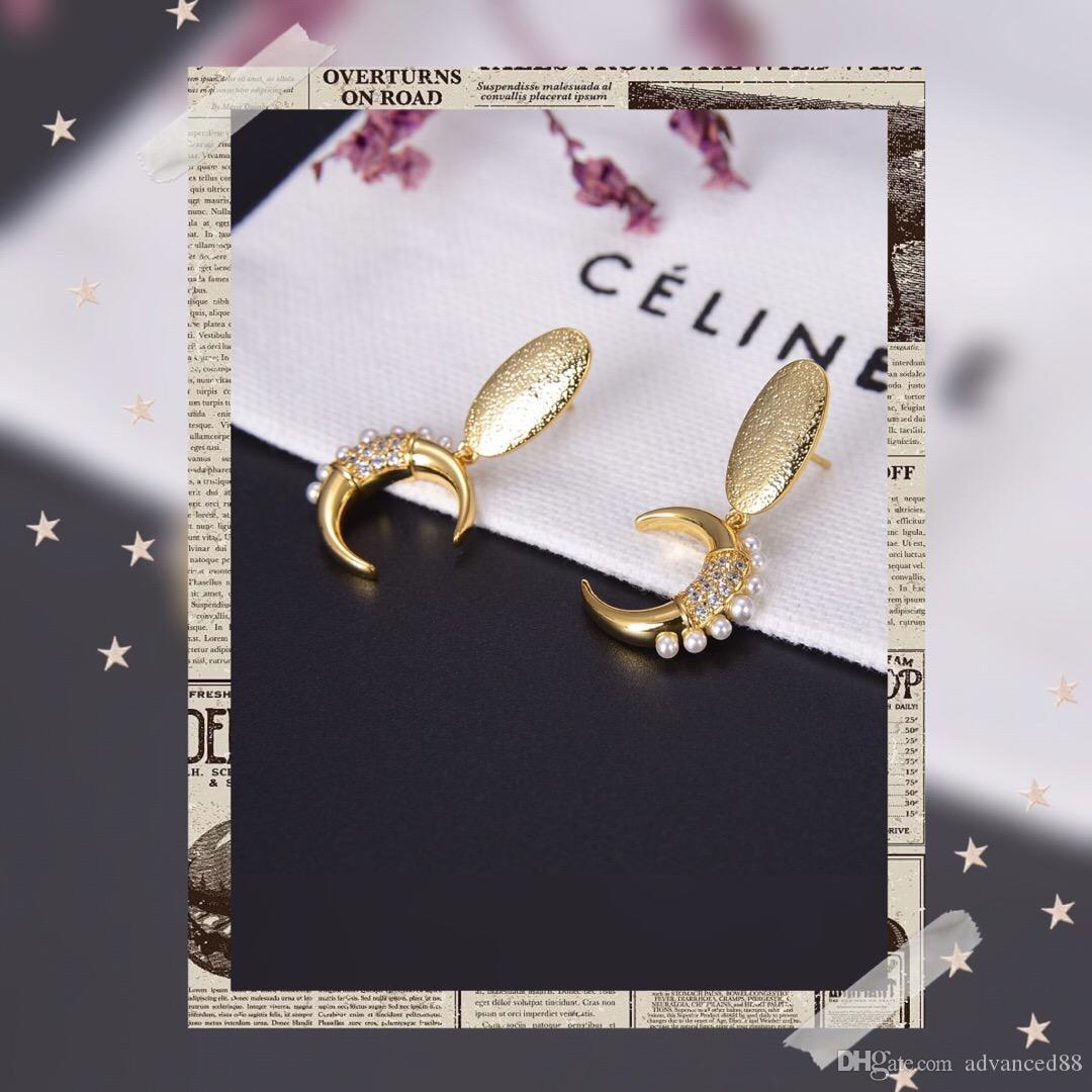 gift27 Moda İnci markası tasarımcı Retro Harf Küpe Kadınlar Stud küpe kız Takı kolye bilezik Yüzük