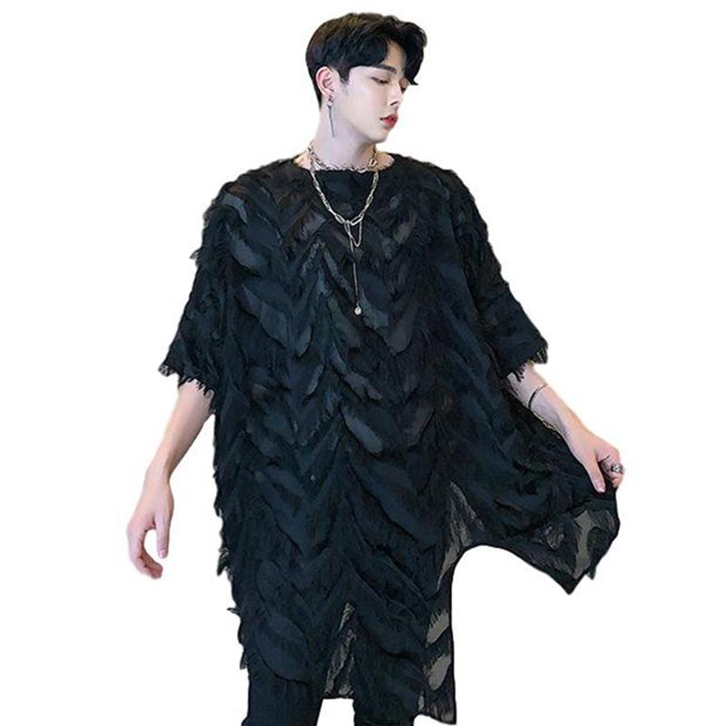 Idopy Men`s 2020 Fashion Korean Tees Street Style Loose Fit Baggy-Feder-Hemd Punk Gothic Hoodie Unregelmäßige T Shirts