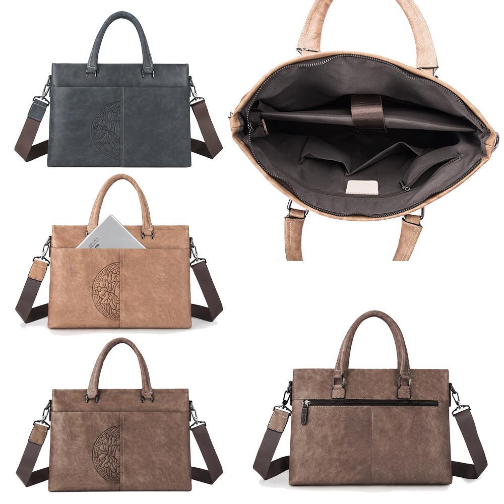Männer echtes Leder Weiche Umhängetasche Laptop Messenger Bags formale Geschäfts-Aktenkoffer Blumenhandtaschen Totes Zipper Kuhfell Umhängetasche