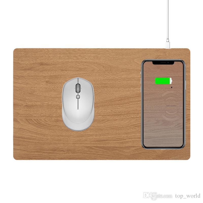 Мобильный телефон Ци Беспроводное зарядное устройство для зарядки Коврик для мыши Мат Кожа PU Mousepad для iPhone X / 8 Plus Samsung S8 Plus / Note 8