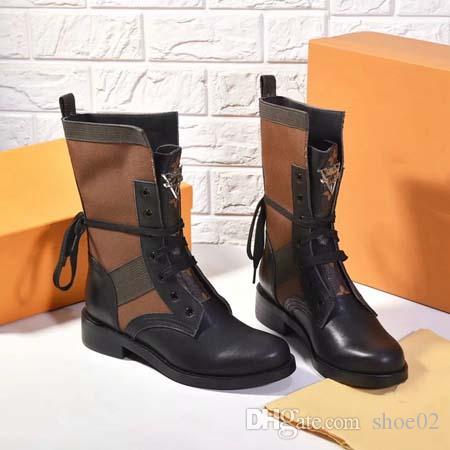 2019 امرأة عالية الجودة أحذية ريال مدريد أحذية جلدية أحذية الكاحل الدانتيل متابعة الأحذية عارضة الشتاء / الخريف الأزياء والأحذية برشام مع مربع دي إتش إل الحرة