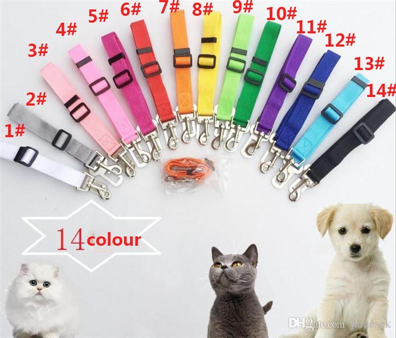 Pet Köpek Kedi Araba Emniyet Kemeri Ayarlanabilir Koşum Emniyet Kemeri Lider LEASH Küçük Orta Köpekler için Seyahat Klip Pet Malzemeleri 14 Renk