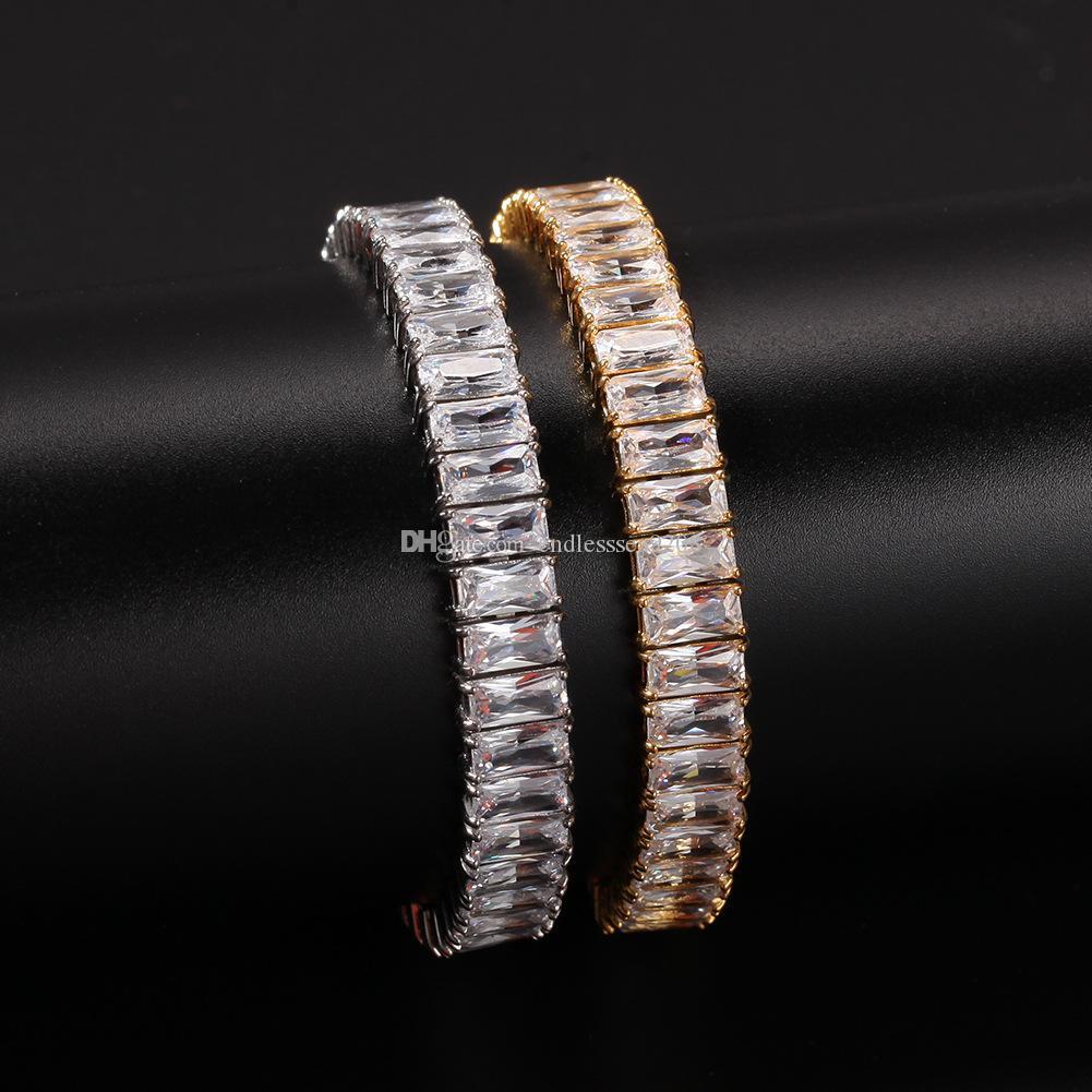 Hip Hop moda pulseiras de aço inoxidável embutido Praça Zircon única linha pulseira Bangle Mulheres Homens Luxury Jewelry presente de casamento