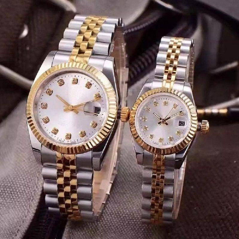 Самое лучшее качество Наручные часы Lovers Пары Стиль Автоматические Механизм Мужская мода Мужские Женские женщин Часы Часы