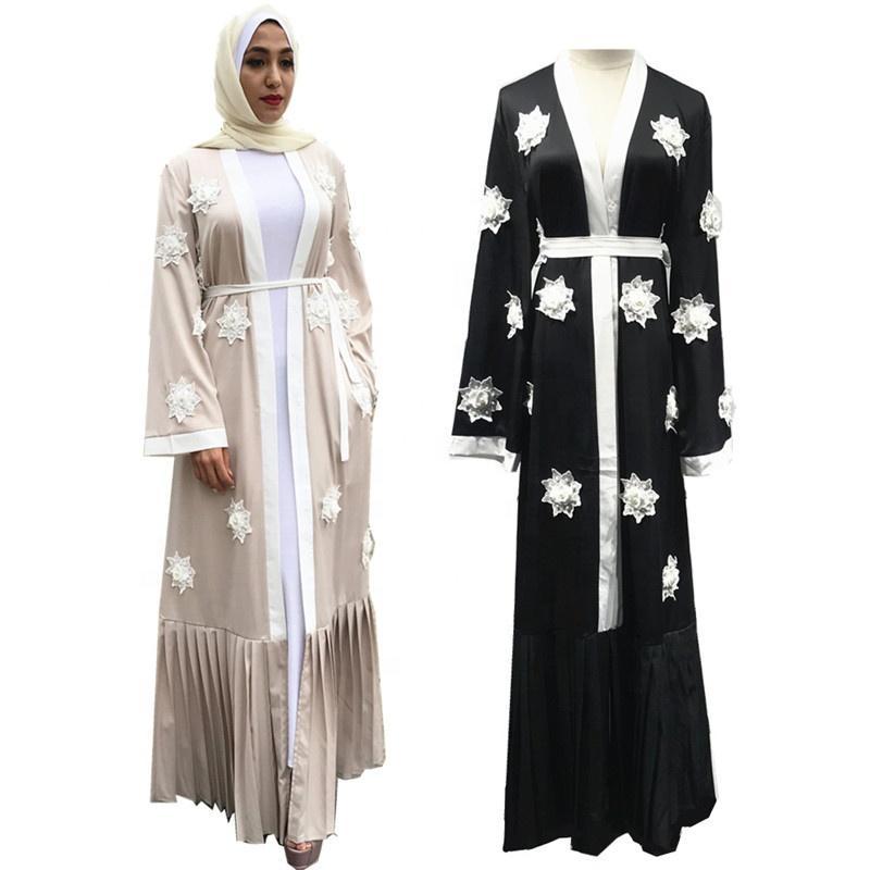 Turkish Abaya Kimono Dubai Muslim Long Dress Pearls Floral Cardigan Robe Pleated Hijab Dress Islamic Clothing Abaya For Women