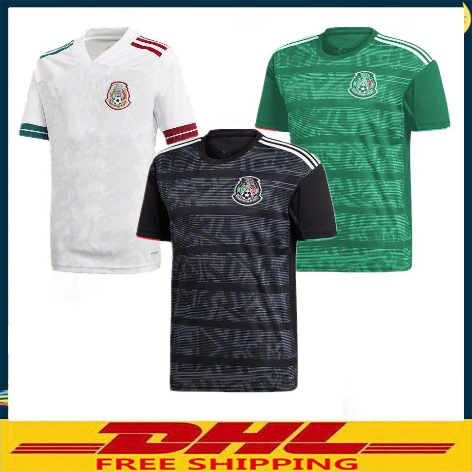 Envío libre de DHL 2020 del fútbol de México jerseys blancos 2019 2020 México distancia negro camiseta de fútbol El tamaño puede ser por lotes mixtos